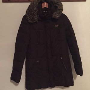 Hollister puffer parka coat Size M Brown